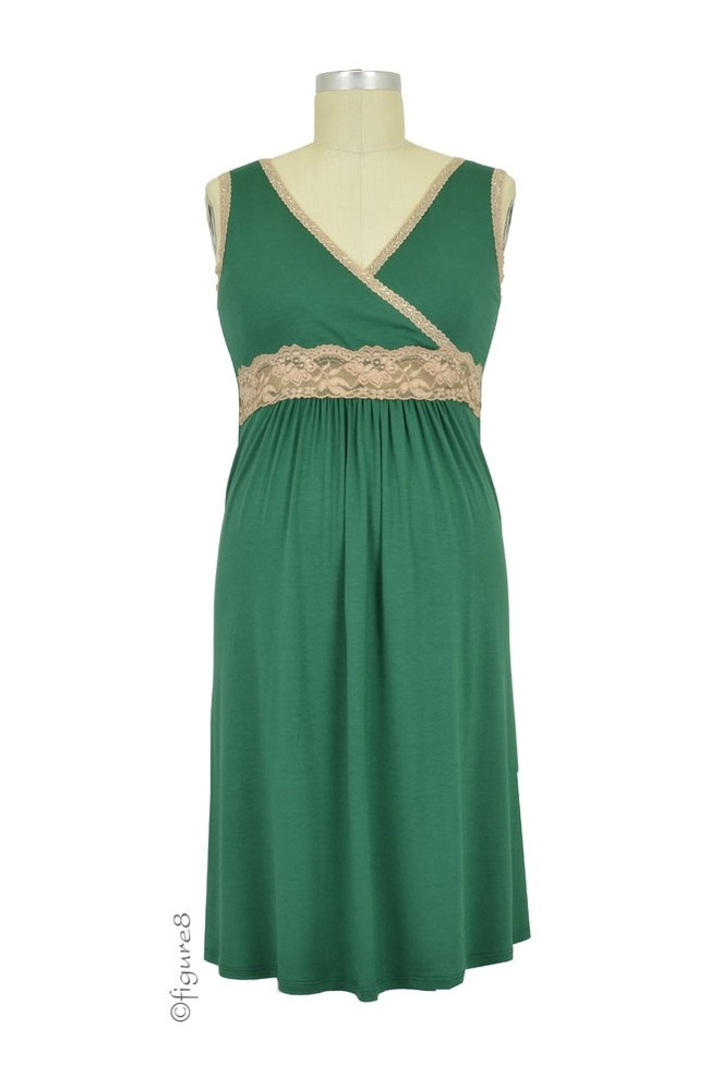 Baju Mama Emma Modal-Lace Nursing Chemise (Hunter Green/Cream Lace)