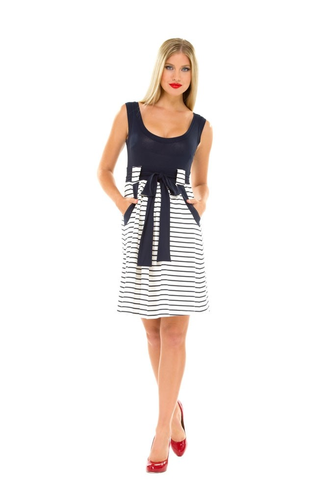Olian Lillian Maternity Dress (Navy & White Stripes)
