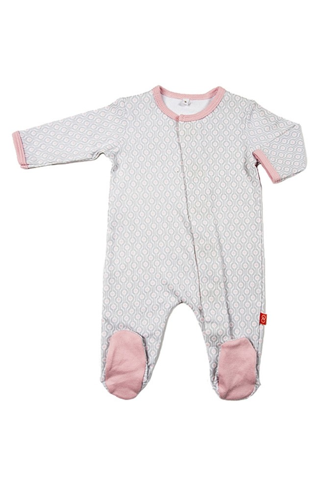 Magnetic Me™ by Magnificent Baby Cotton Mod Dot Footie (Pink Mod Dot)