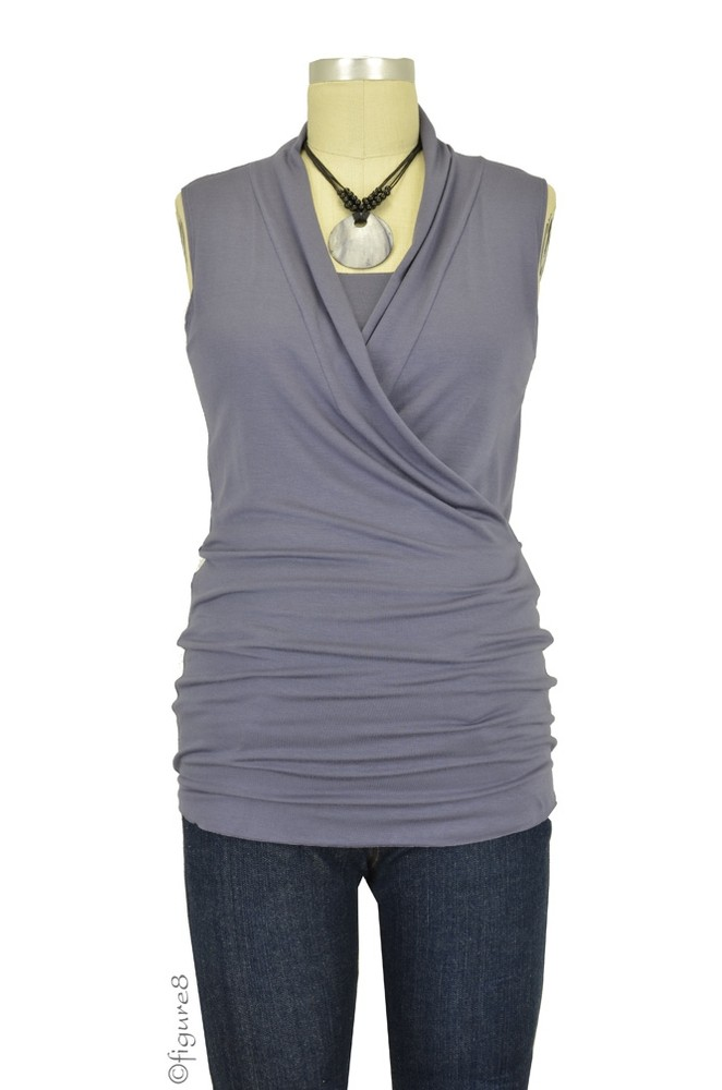 Baju Mama Isabella Raw Edge Sleeveless Maternity & Nursing Top (Purple Grey)