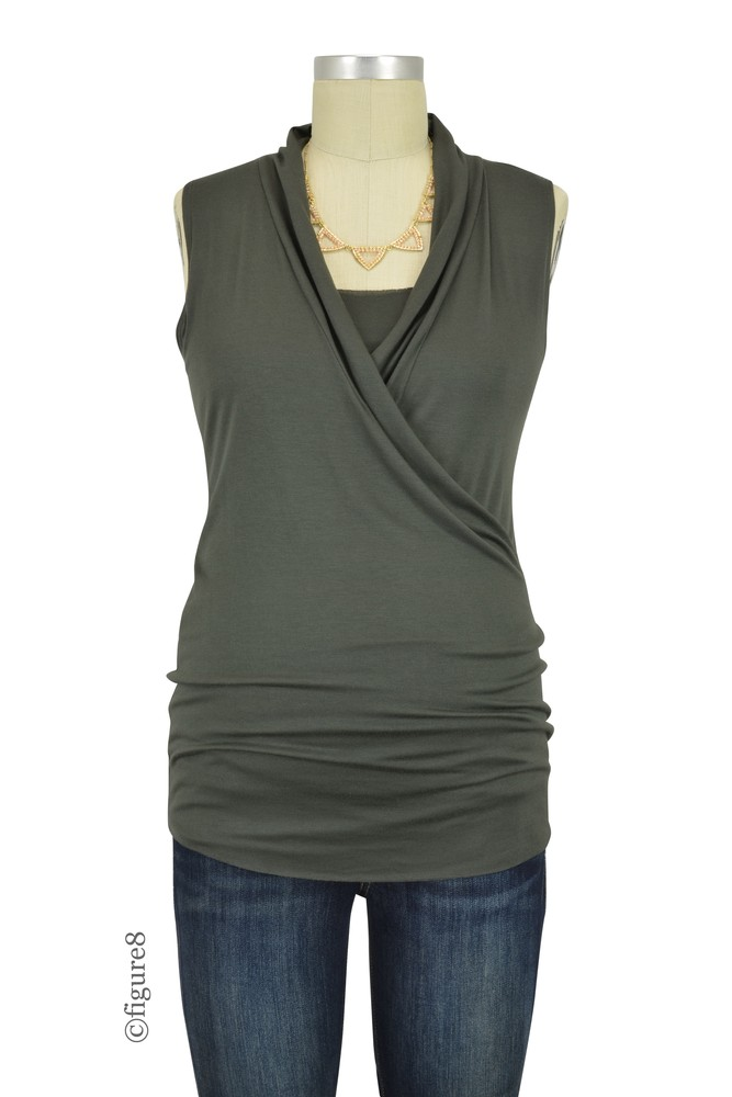 Baju Mama Isabella Raw Edge Sleeveless Maternity & Nursing Top (Dark Olive)