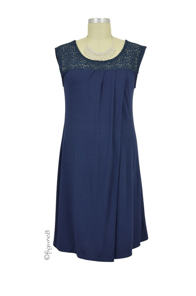 Colette Crochet Maternity & Nursing Dress (Navy)