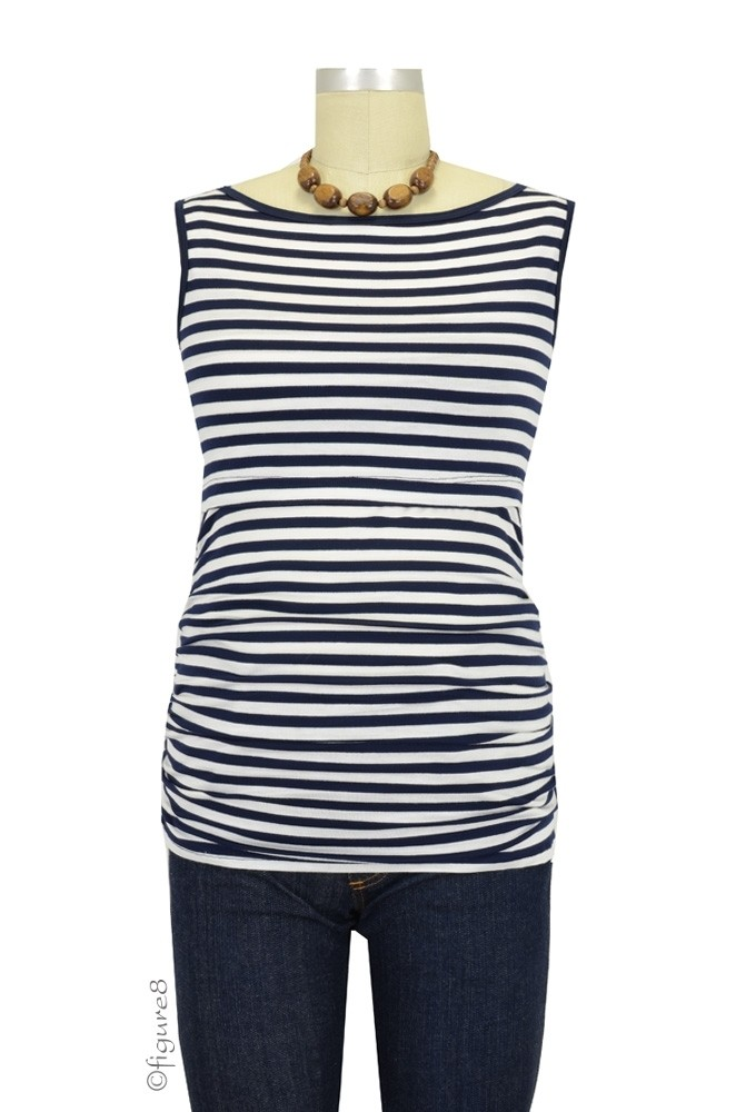 Baju Mama Audrey Sleeveless Boatneck Maternity & Nursing Top (Navy & White Stripes)