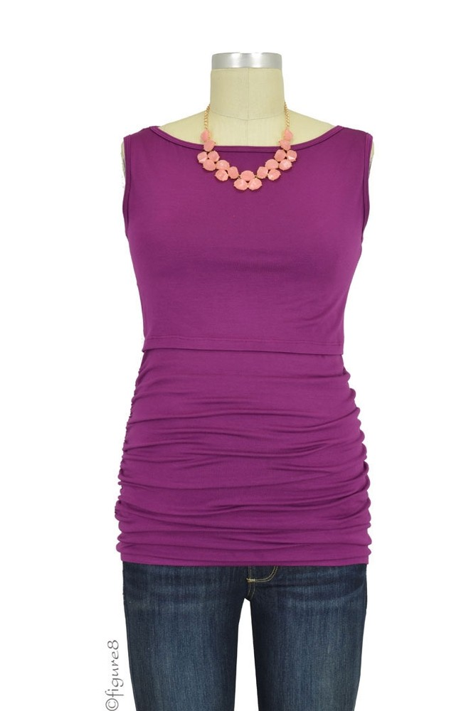 Baju Mama Audrey Sleeveless Boatneck Maternity & Nursing Top (Plum Wine)
