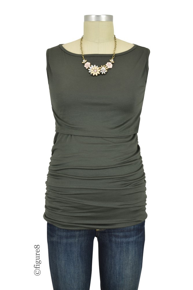 Baju Mama Audrey Sleeveless Boatneck Maternity & Nursing Top (Dark Olive)