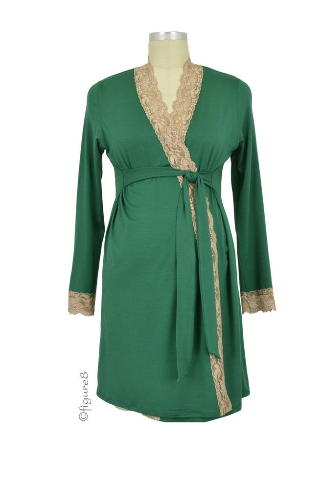 Baju Mama Emma Long Sleeve Lace Trim Robe (Hunter Green/Cream Lace)