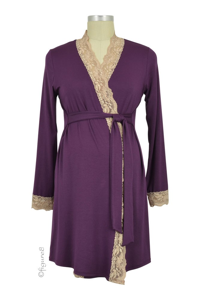 Baju Mama Emma Long Sleeve Lace Trim Robe (Eggplant/Cream Lace)
