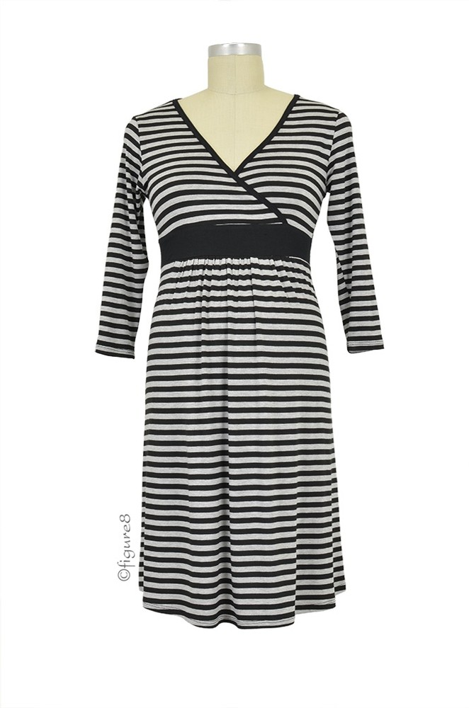 Baju Mama Jane Modal Nursing Night Dress (Heather Grey/Black Stripe)