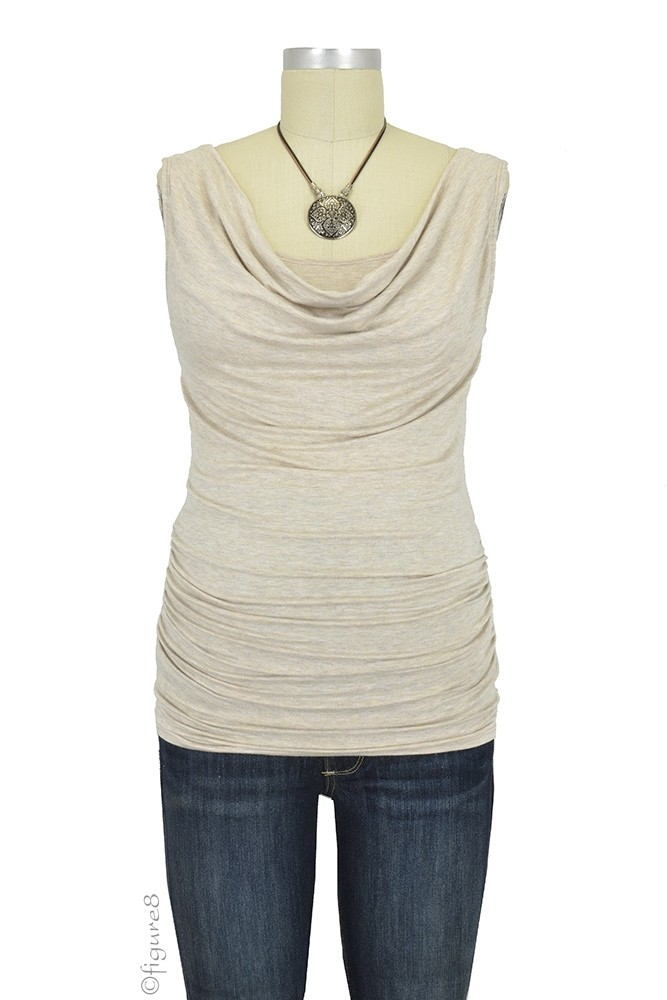 Baju Mama Ava Sleeveless Maternity & Nursing Cowl Neck Top (Latte)