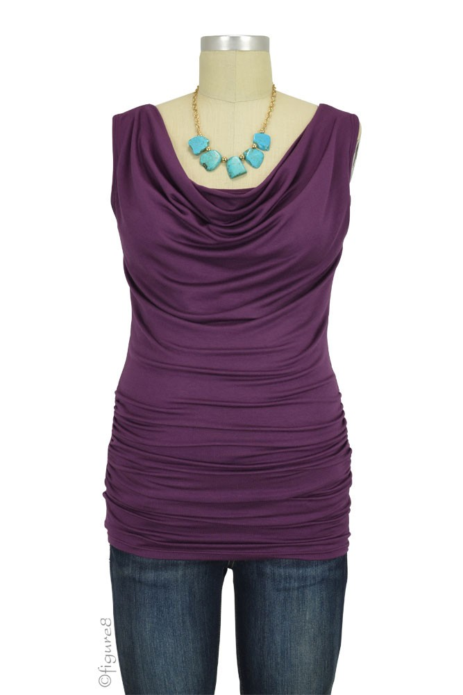 Baju Mama Ava Sleeveless Maternity & Nursing Cowl Neck Top (Aubergine)