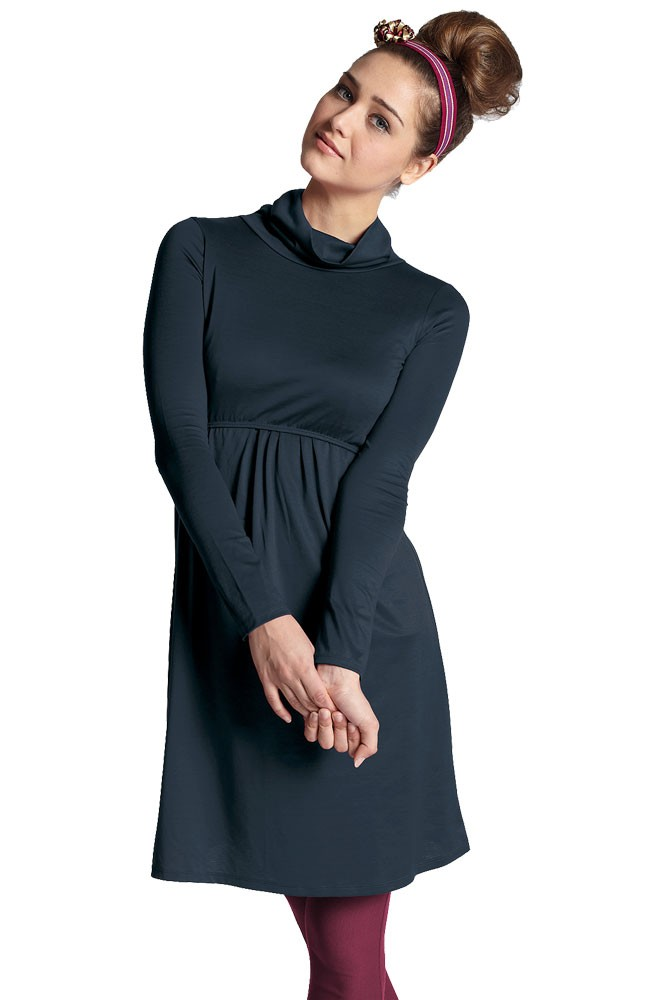 Jackie Turtle-Neck Organic Long Sleeve Nursing Dress (Mood Indigo)