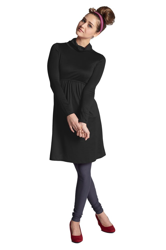 Jackie Turtle-Neck Organic Long Sleeve Nursing Dress (Black)