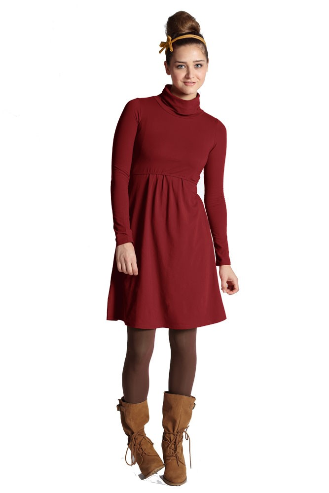 Jackie Turtle-Neck Organic Long Sleeve Nursing Dress (Dark Red)