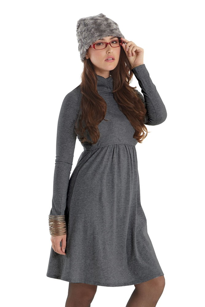 Jackie Turtle-Neck Organic Long Sleeve Nursing Dress (Heather Charcoal)