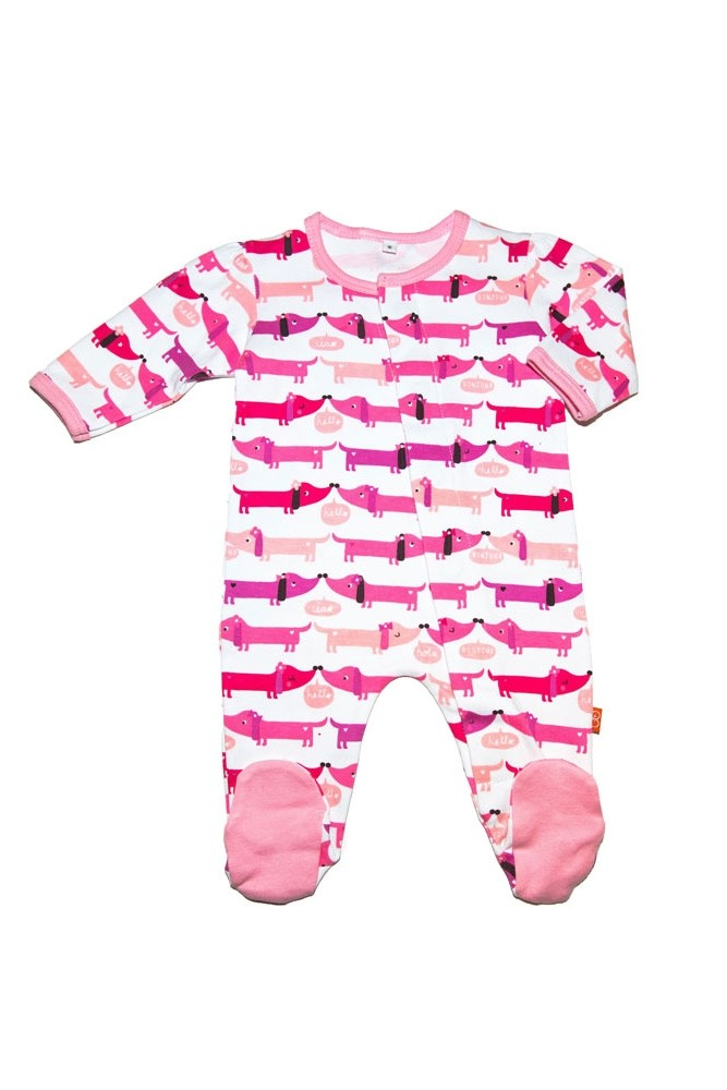 Magnetic Me™ by Magnificent Baby Cotton Hello Hot Dog Footie (Pink Hello Hotdog)