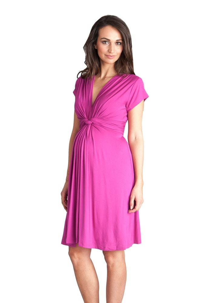 Seraphine Jolene Short Sleeve Maternity Dress (Fuschia)