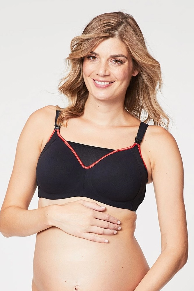 Cake Lingerie Zest Flexi Wire High Impact Sports Maternity & Nursing Bra (Black)
