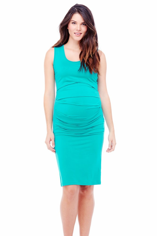Ingrid & Isabel Pleated Tank Maternity Dress (Turquoise)