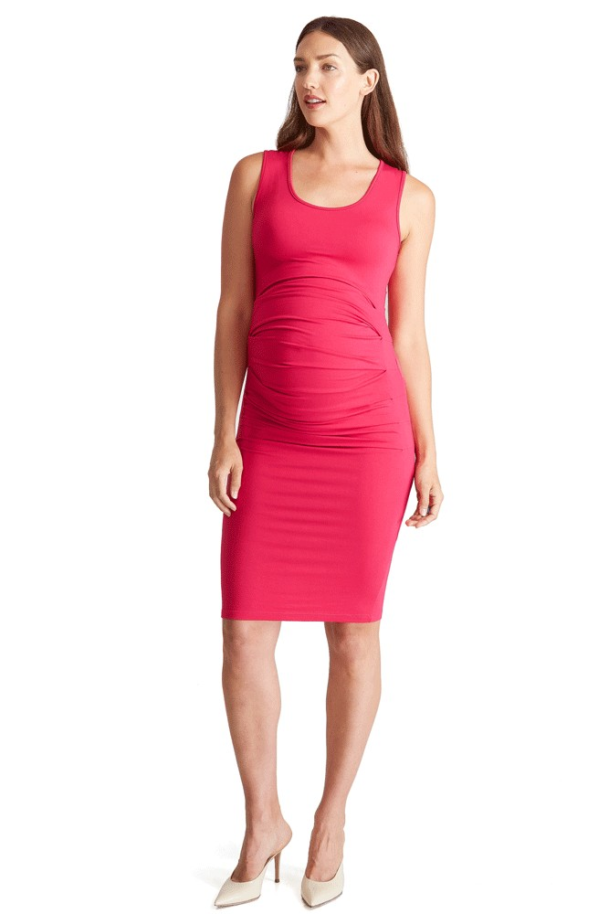Ingrid & Isabel Pleated Tank Maternity Dress (Berry)