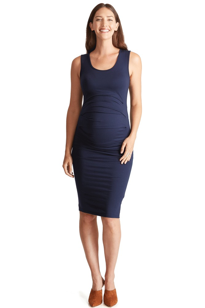 Ingrid & Isabel Pleated Tank Maternity Dress (True Navy)