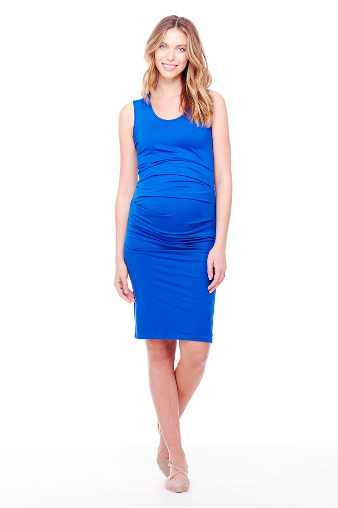 Ingrid & Isabel Pleated Tank Maternity Dress (Cobalt)