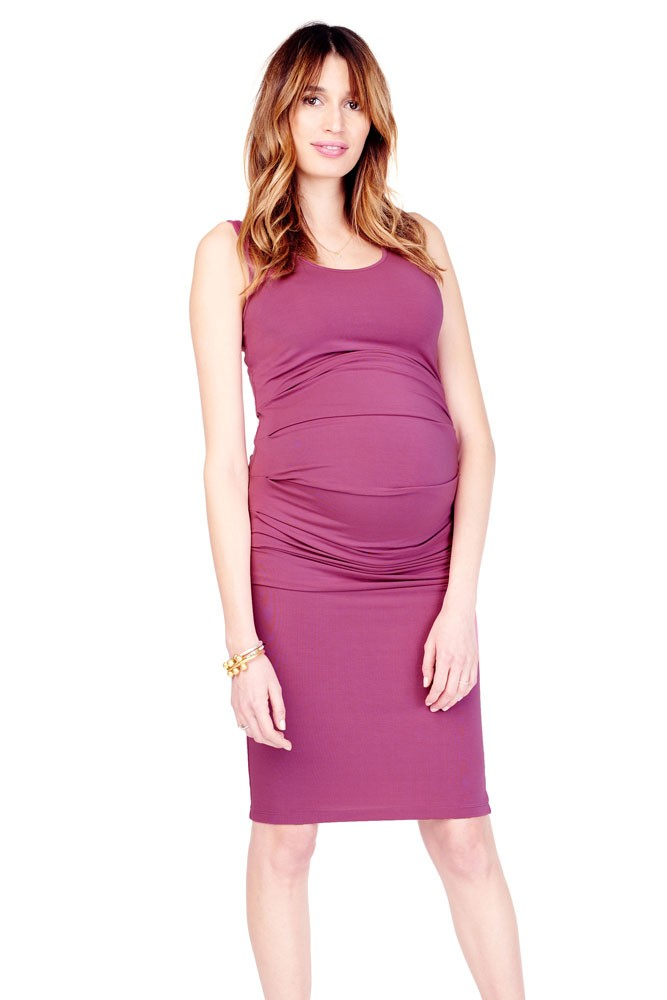 Ingrid & Isabel Pleated Tank Maternity Dress (Hibiscus)