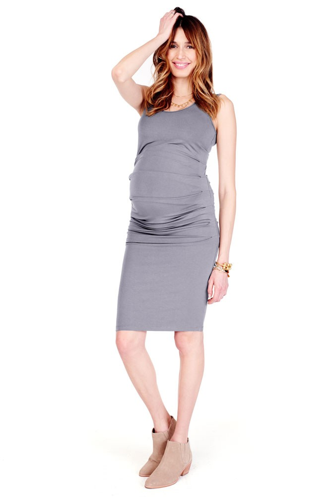 Ingrid & Isabel Pleated Tank Maternity Dress (Medium Heather Grey)