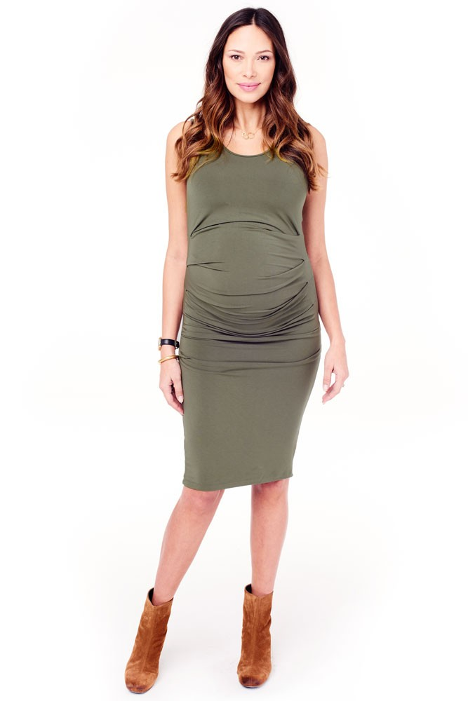 Ingrid & Isabel Pleated Tank Maternity Dress (Olive)