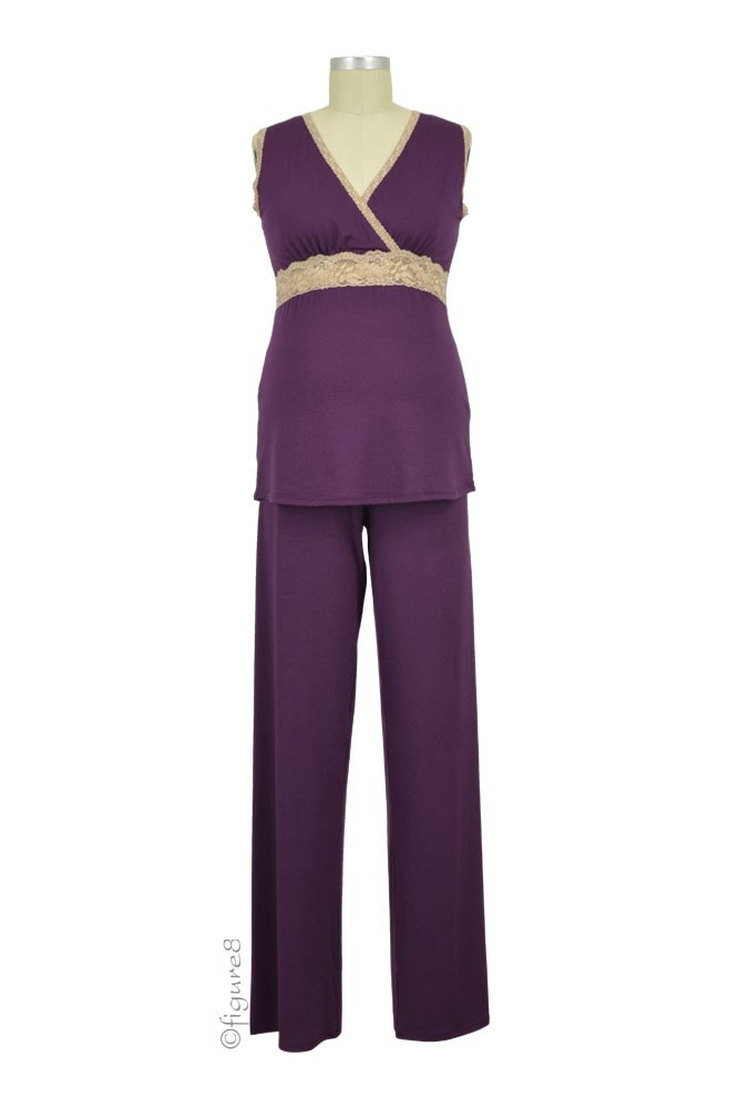 Baju Mama Emma Modal-Lace Sleeveless Nursing PJ Set (Eggplant/Cream Lace)