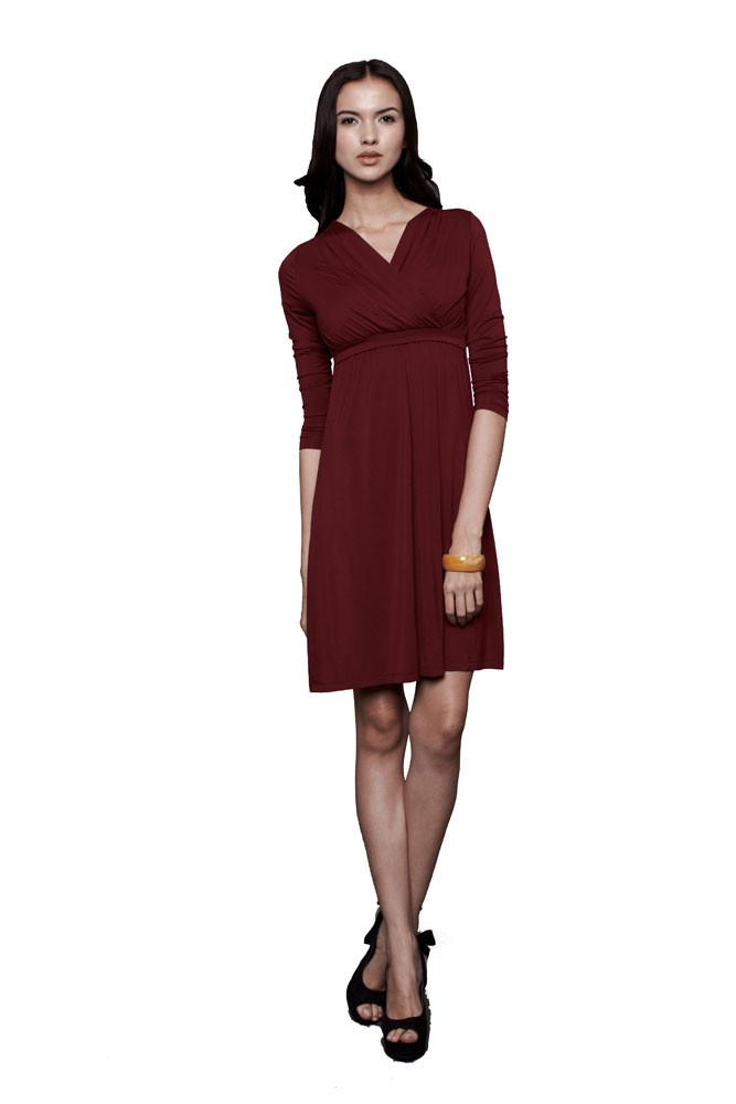 Belle 3/4 Sleeve Maternity & Nursing Dress (Wine)