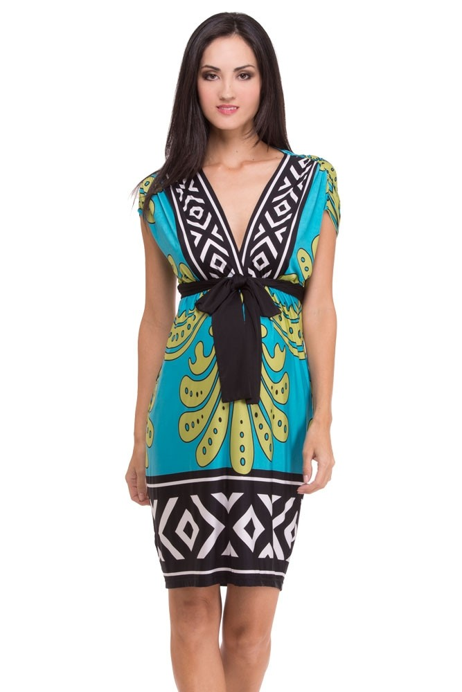 Olian Cecelia Maternity Dress (Green & Black Arabesque Print)