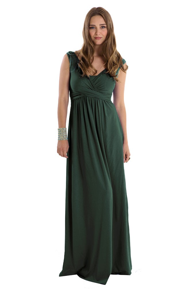 Ava Wrap Sleeveless Maxi Maternity & Nursing Dress (Myrtle Green)