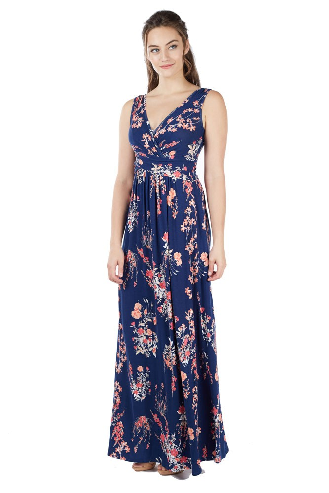 Ava Wrap Sleeveless Maxi Maternity & Nursing Dress (Floral Wild Blossom)
