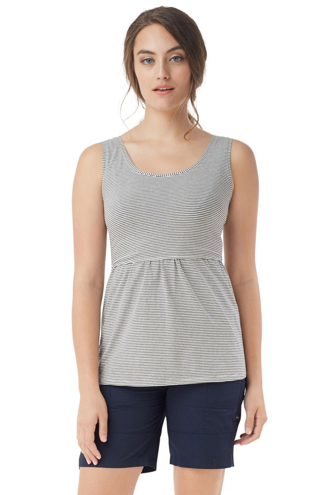Avery Must-Have U-Neck Organic Nursing Tank (Stripes White Grey)
