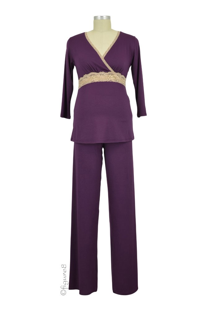 Baju Mama Emma 3/4 Sleeve Nursing PJ Set (Eggplant/Cream Lace)