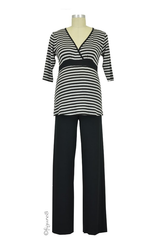 Baju Mama Jane 3/4 Sleeve Nursing PJ Set (Heather Grey/Black Stripe)