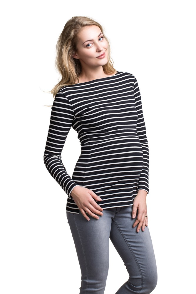 Boob Design Simone Long Sleeve Organic Maternity & Nursing Top (Black/Off-White)