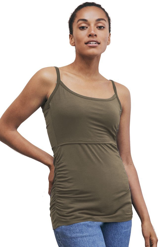 Boob Design Flatter Me Ruched Maternity & Nursing Singlet (Dusty Olive)