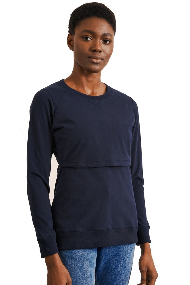 Boob Design B. Warmer Organic Nursing Sweatshirt (Midnight Blue)