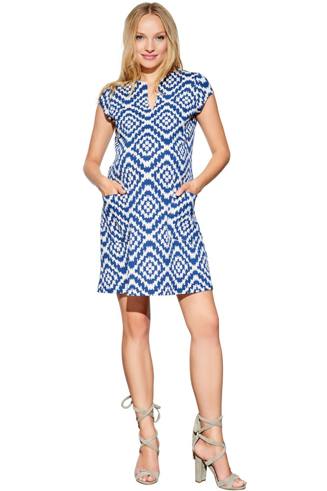 Camila Ponte Maternity Shift Dress with Pockets (Navy Tapestry)
