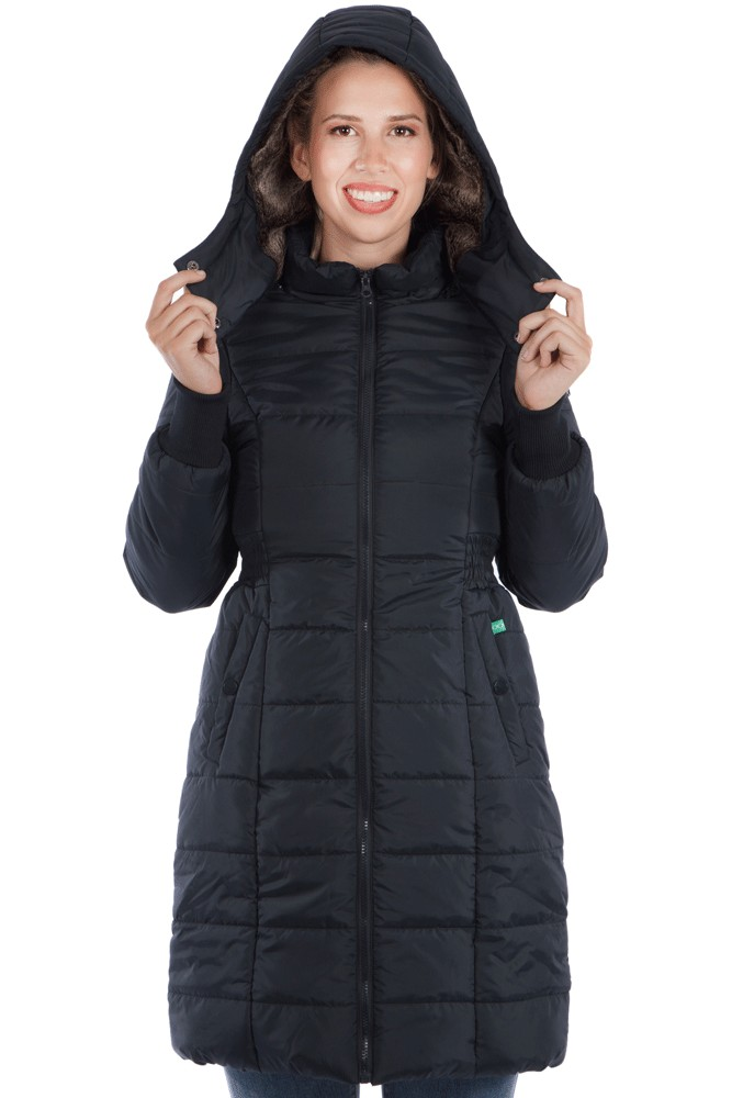 Neve 3-in-1 Knee Length Maternity Coat (Black)