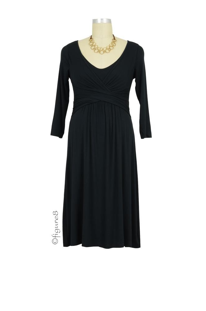 Ava 3/4 Sleeve Wrap Maternity & Nursing Dress (Black)