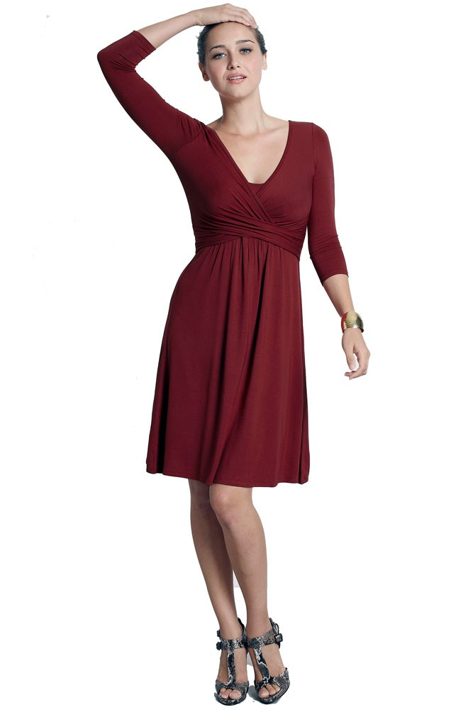 Ava 3/4 Sleeve Wrap Maternity & Nursing Dress (Deep Cabernet)