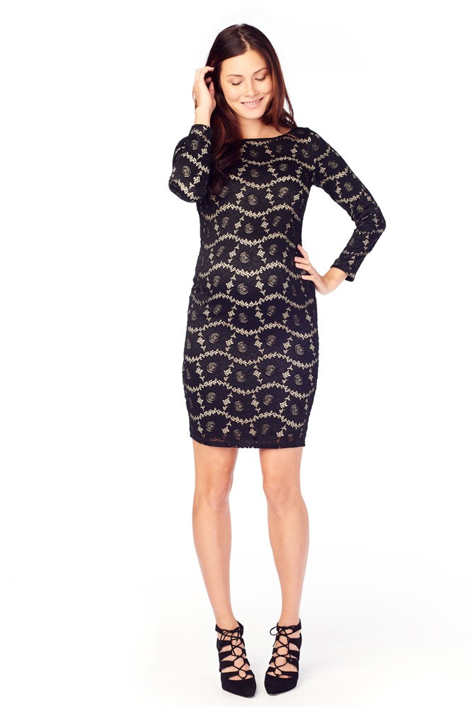 Ingrid & Isabel Boatneck Lace Maternity Dress (Black Lace Over Nude Lining)