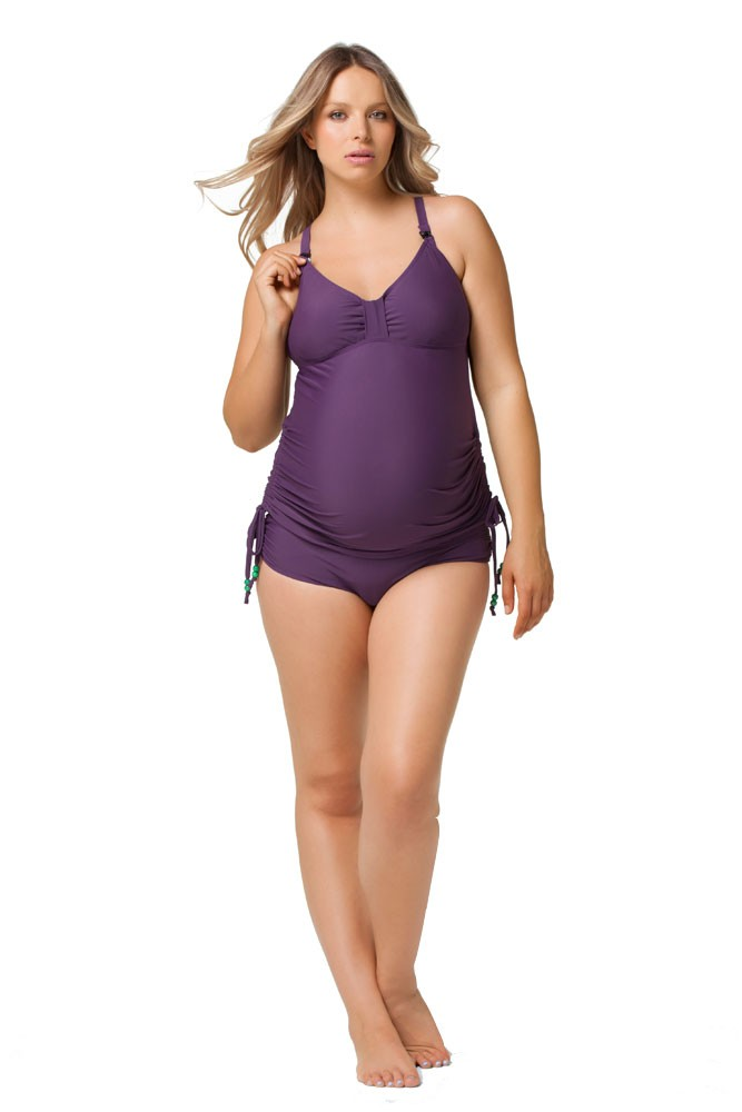 Rosewater by Cake- Shake Maternity & Nursing Tankini (Purple)