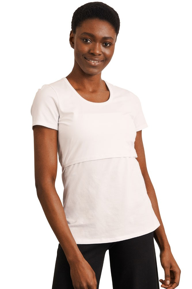 Boob Design Classic Organic Scoop Neck Maternity & Nursing Top (White)