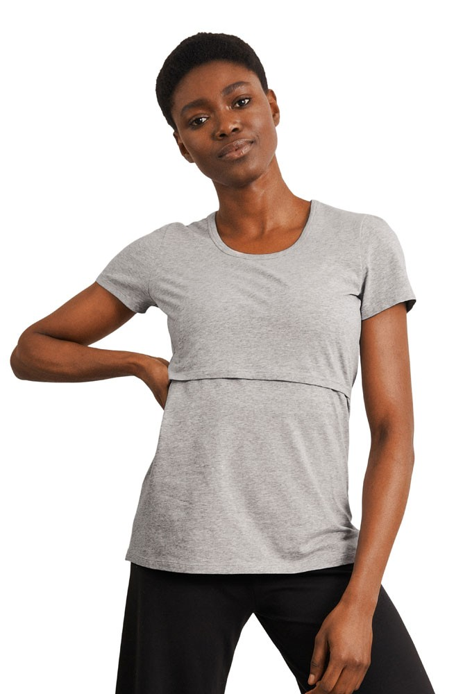 Boob Design Classic Organic Scoop Neck Maternity & Nursing Top (Grey Melange)