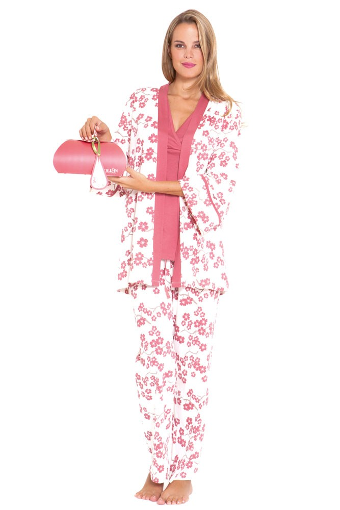 Mackenna 4-pc. Nursing PJ Set with Baby Outfit and Gift Box (Pink Floral)