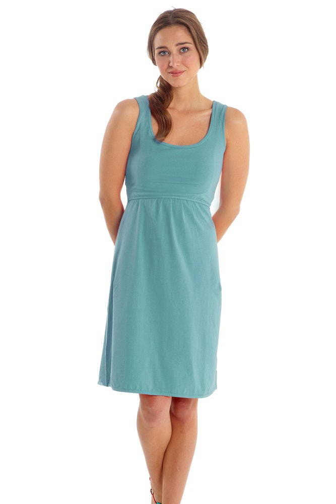 Avery Organic Cotton Scoop Neck Nursing Dress (Nile Blue)