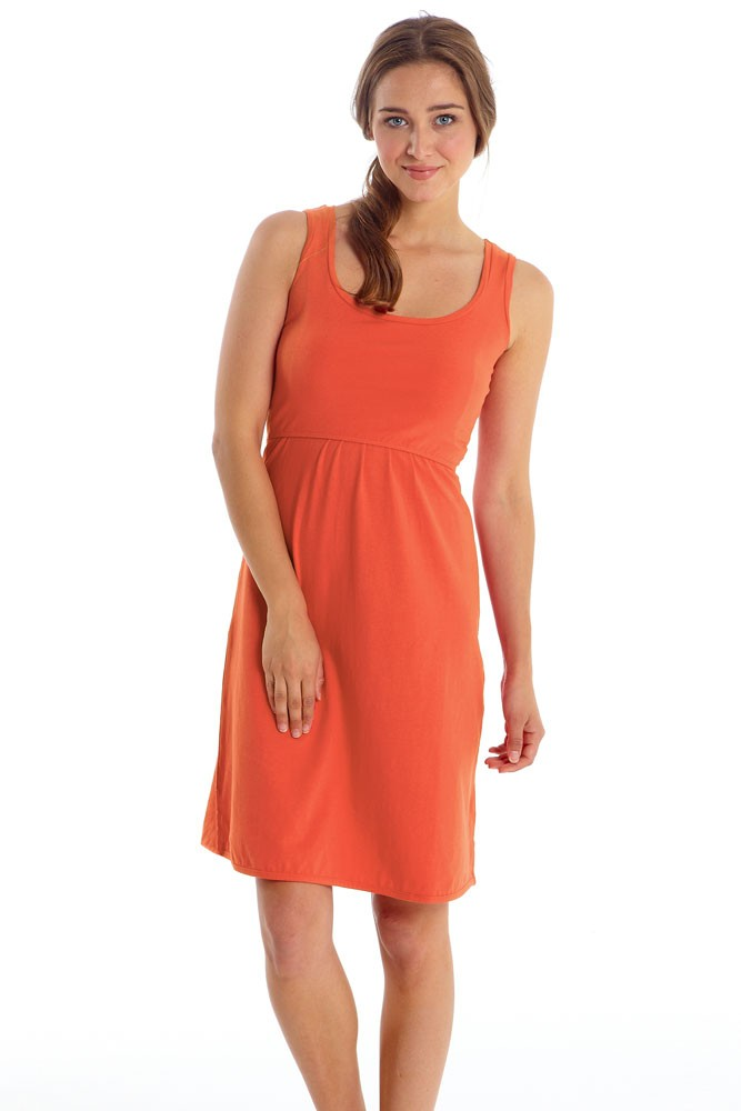 Avery Organic Cotton Scoop Neck Nursing Dress (Nectarine)